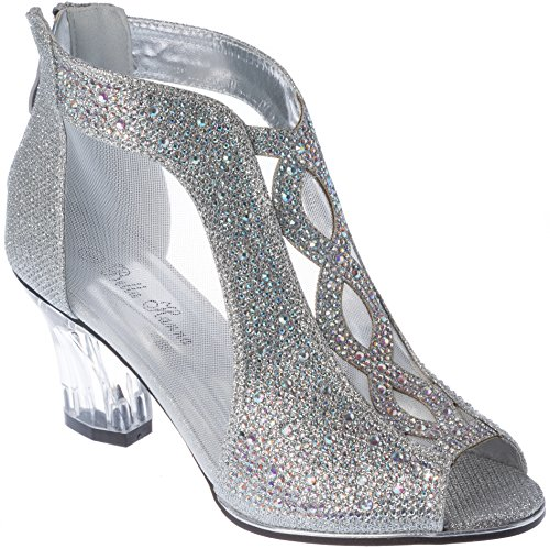 - Sjade02 Women's Evening-Sandal Rhinestone Chunky-Heel Crystal-Sparkling Silver Dress-Shoes Size 9