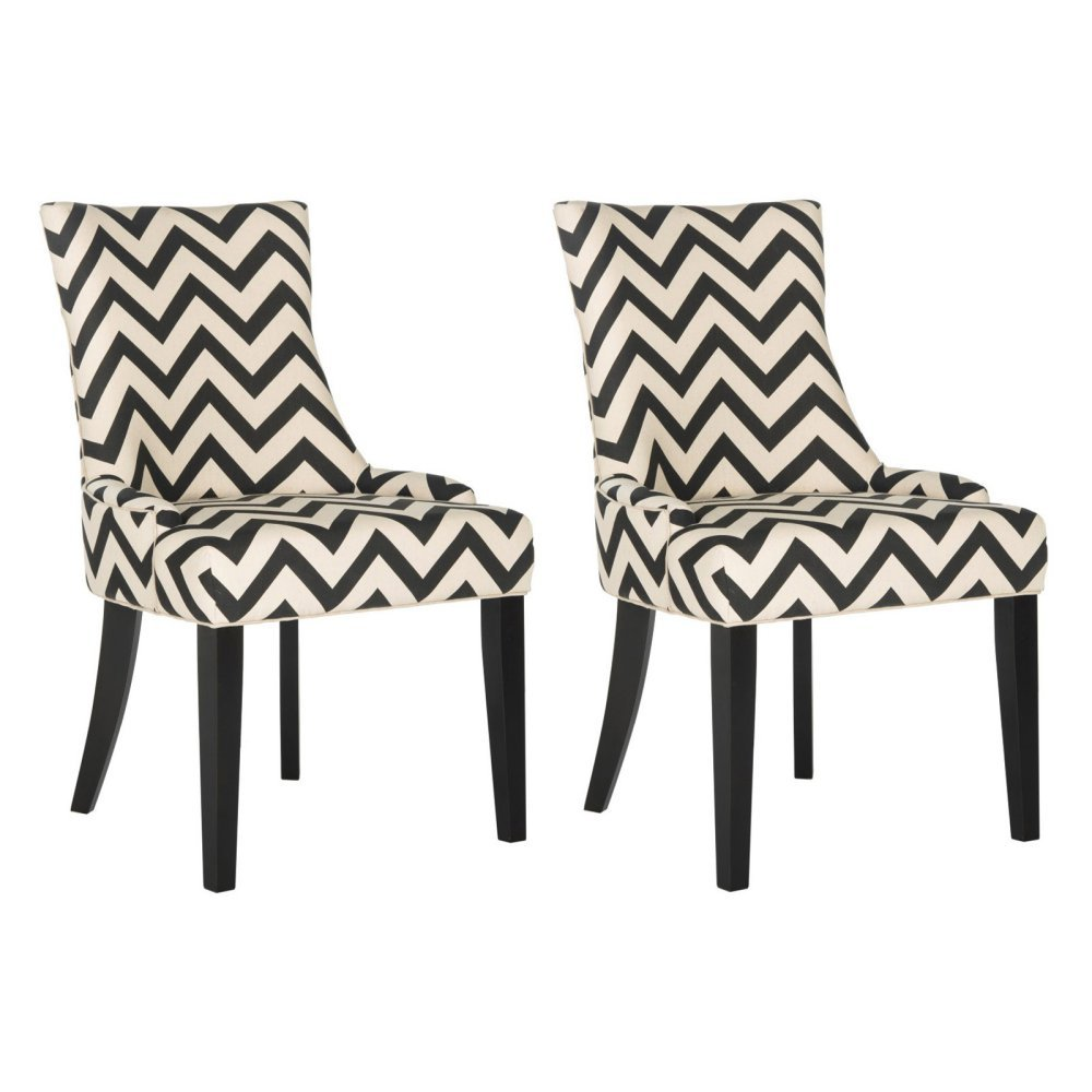 Safavieh Mercer Collection Lester 19 Black & White Chevron Dining Chair