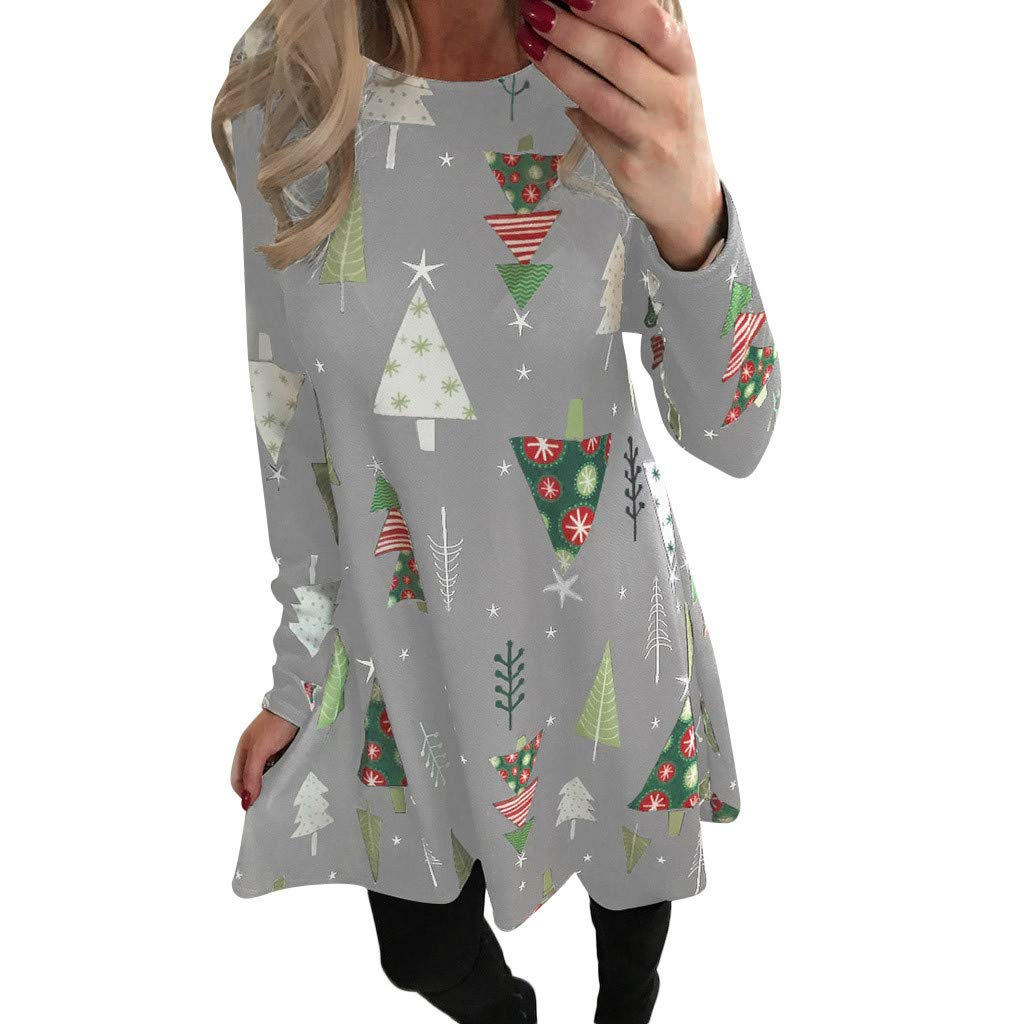 Seaintheson Christmas Womens Dress, Women's Long Sleeve Xmas Santa Claus Print Skirt Pullover Flared A Line Cockatil Dress Women' s Long Sleeve Xmas Santa Claus Print Skirt Pullover Flared A Line Cockatil Dress