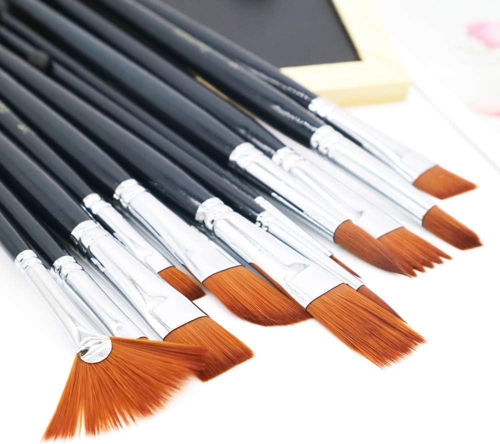 12 pcs Professional Acrylic Paint Brush Set Different Sizes Artist Paint Brushes for Acrylic Watercolor Oil Gouache Paint Paint Brushes