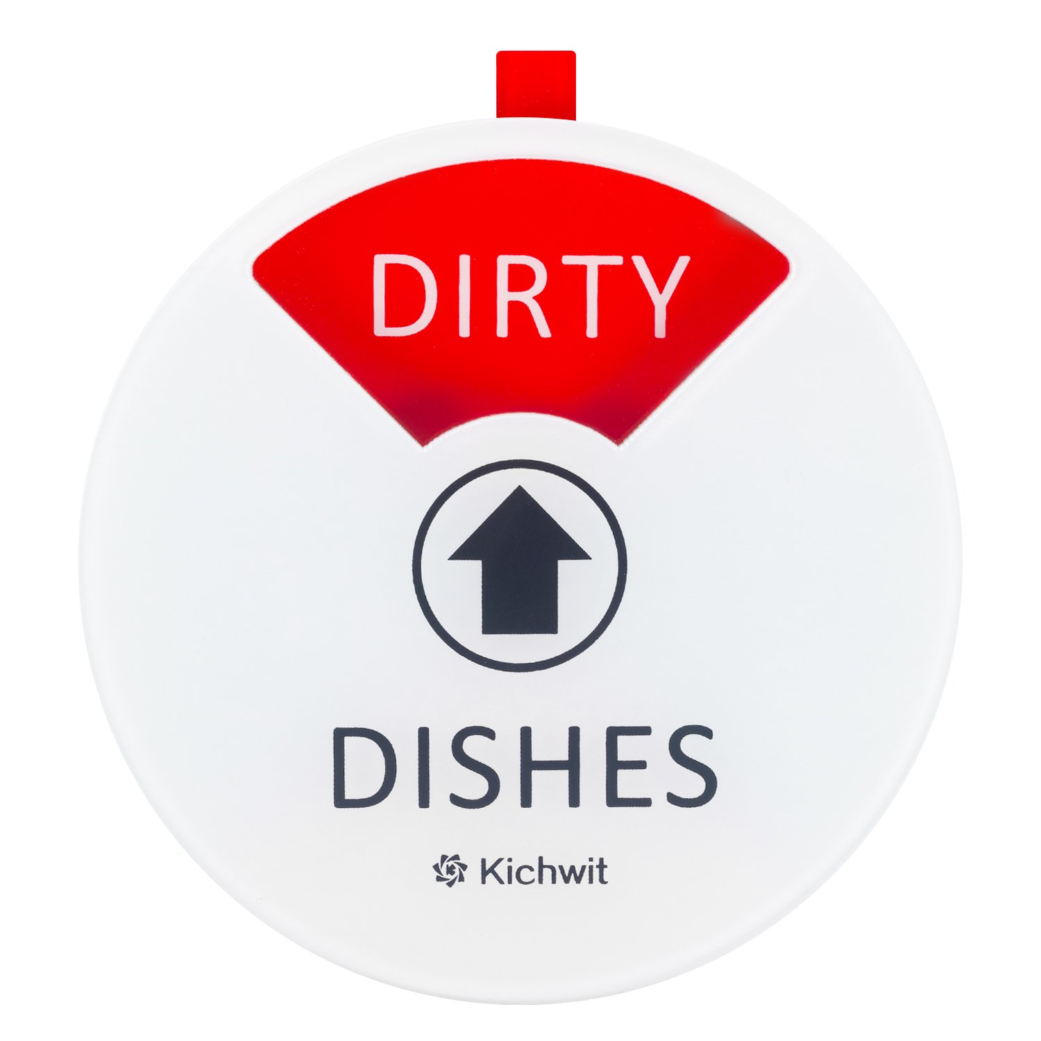 Kichwit Clean Dirty Dishwasher Magnet, Dishwasher Clean Dirty Sign, Works on All Dishwashers, Non-Scratch Strong Magnetic Backing, 4 Inch Diameter (White)
