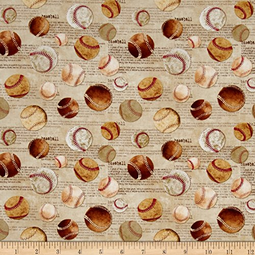 - Timeless Treasures Vintage Sports Tossed Baseballs Fabric by The Yard