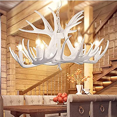 6 Lights Vintage Antler Chandelier Light Retro White Deer Horn Dining Pendant Lamp PL482-6WH
