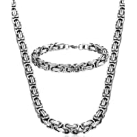Jstyle Jewelry Stainless Steel Male Chain Necklace Mens Bracelet Set