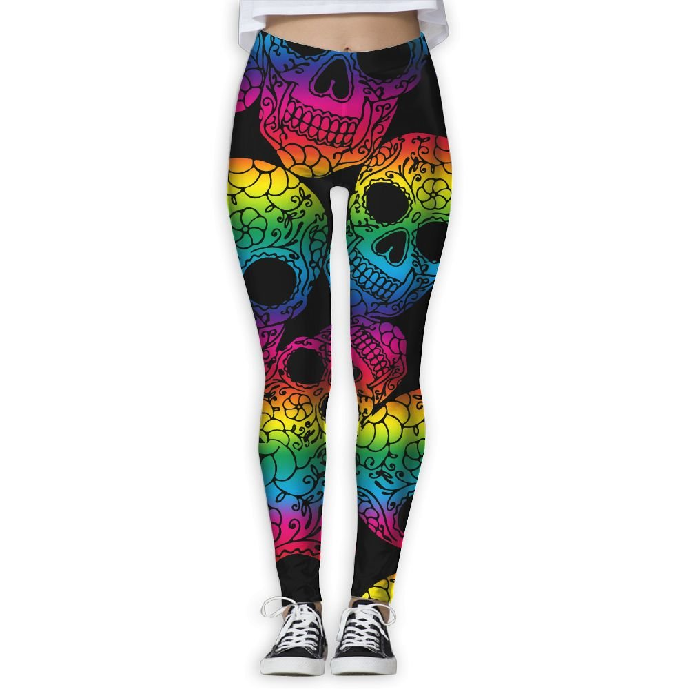 54073a79ce212 Amazon.com : Colorful Sugar Skulls Women's Yoga Pants Tight Leggings Workout  Running Leggings : Sports & Outdoors