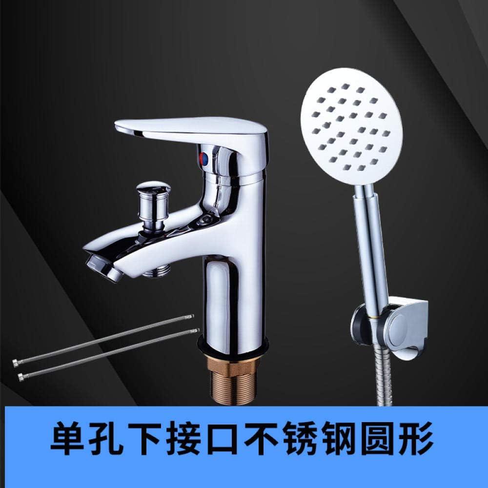 NGRJG Grifo de Cocina Grifo de agua de cobre de un solo orificio con ducha lavabo de ducha lavabo de agua fría y caliente fregadero de uso interfaz submarina con manguera de acero inoxidable redondo