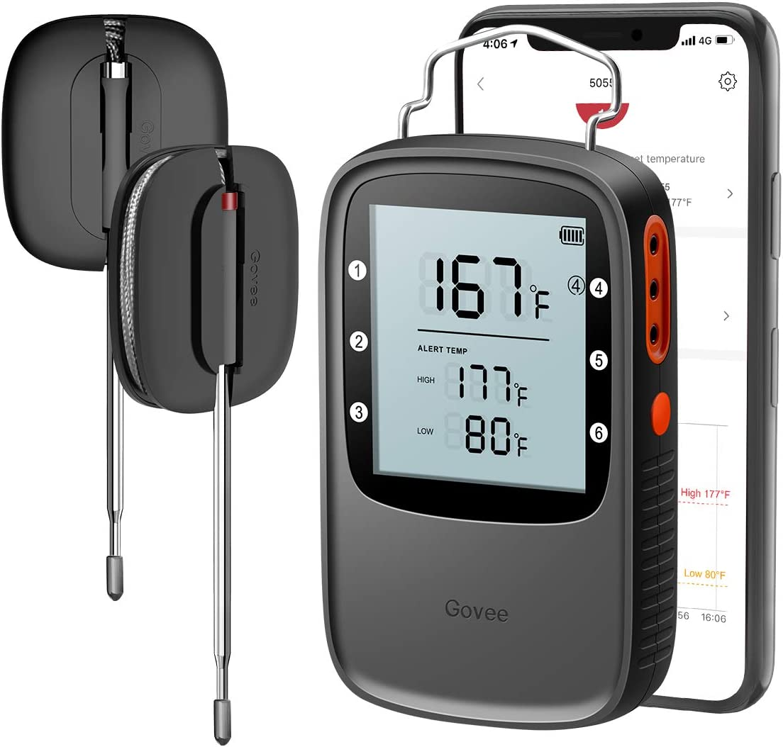 Govee Meat Thermometer, Bluetooth Digital Food Thermometer Clock Timer with 2 Probes, Wireless Remote Monitor Kitchen Thermometer High Accurancy Meat Thermometer for Grilling BBQ Smoker Oven Candy