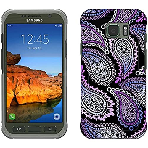 Samsung Galaxy S7 Active Case, Snap On Cover by Trek Pink Purple Paisley on Black Slim Case Sales