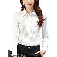 DPO Women's Vintage Pleated Button Down Shirt Long Sleeve Blouse