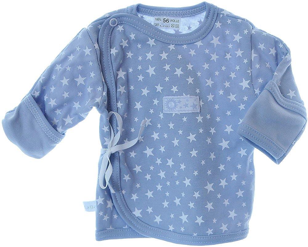 Hemdchen Wickelshirt Babyhemdchen Shirt Flügelhemdchen 56 62 mit Kratzschutz Grau