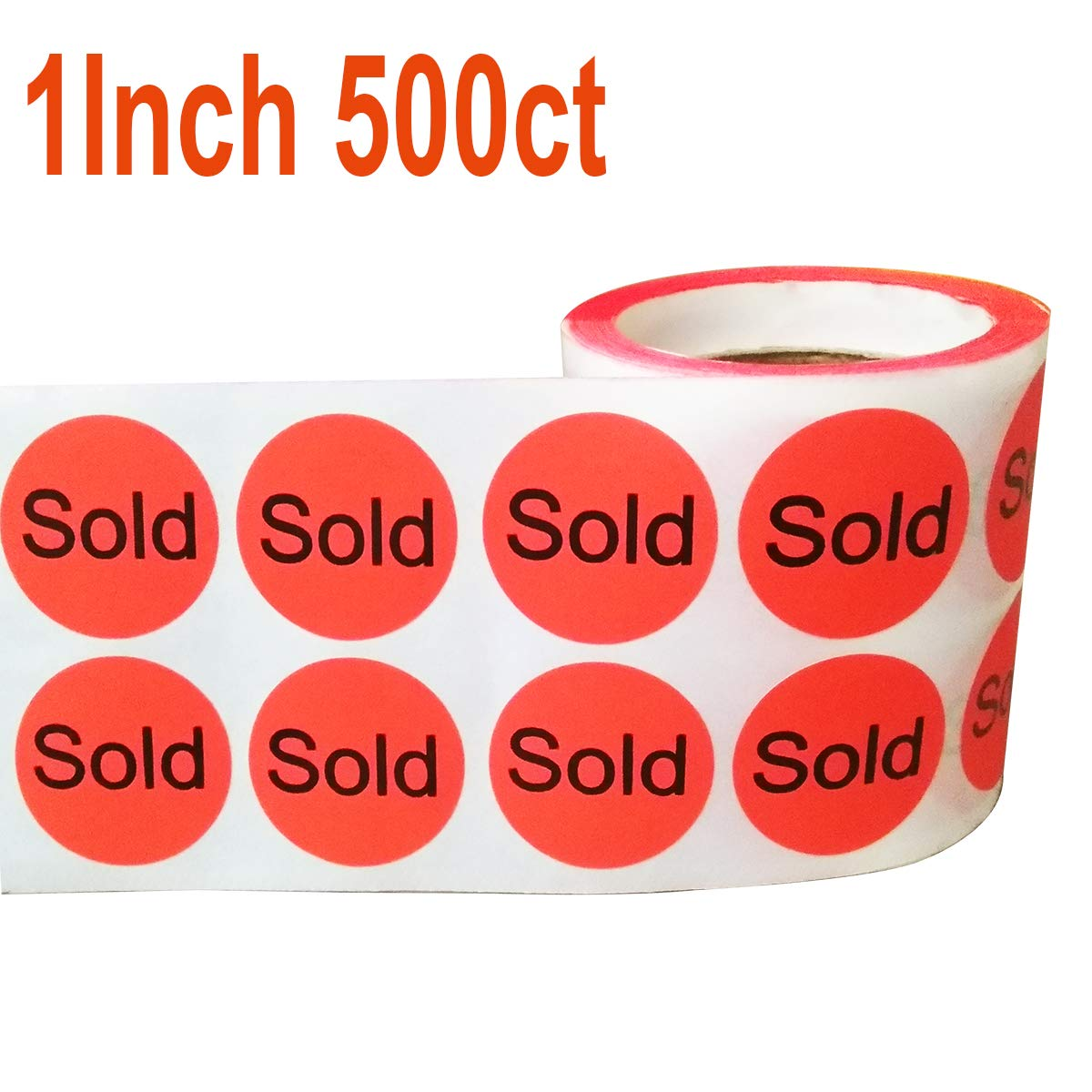 Wootile 500 1' Stickers/Labels'Sold' Red Stickers Labels Retail Sold (1 inch)