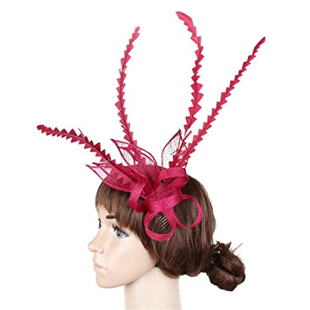 Lady Mini Top Hat Hair Clip Net Yarn Decorated Feather Burlesque Punk Style Red