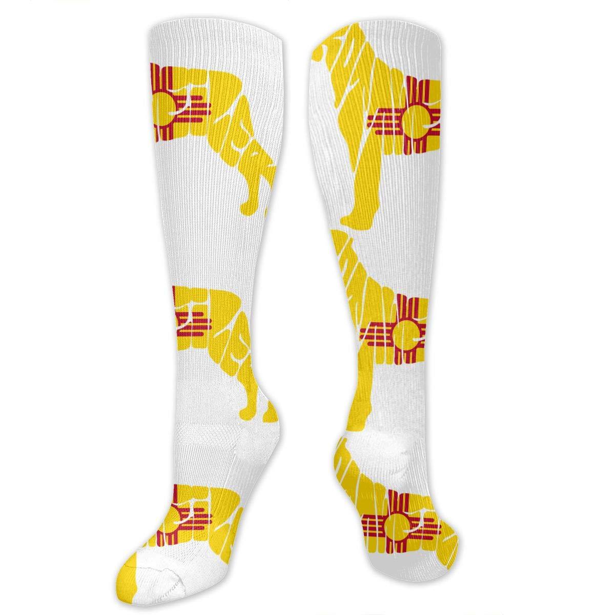 Unisex New Mexico Flag Rottweiler Dog Knee High Compression Thigh High Socks Tube Socks