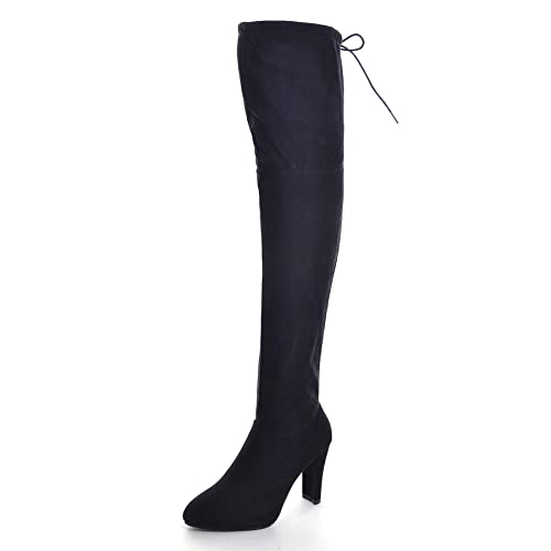 VFDB Women Over The Knee Boots Peep Toe Thigh High Ripped Hole Street Style Denim Stiletto Heel Boot US