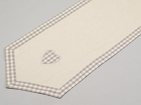Simla-Camino de mesa, diseño de corazones, color beige con diseño ...