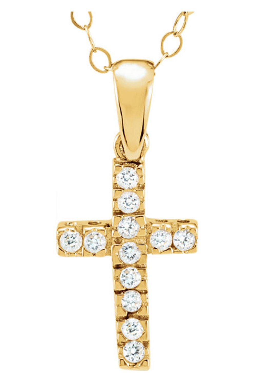 Girl's 14k Yellow Gold Cubic Zirconia Cross Pendant Necklace, 15''