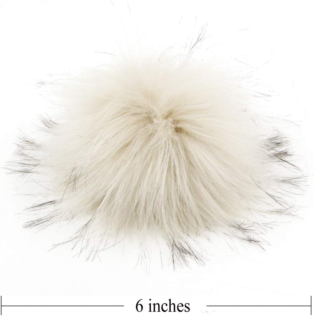 Beige Fluffy Faux Raccoon Fur Pompoms with Press Button for Knitting Hat Garment Accessories 6 Inches Pack of 12
