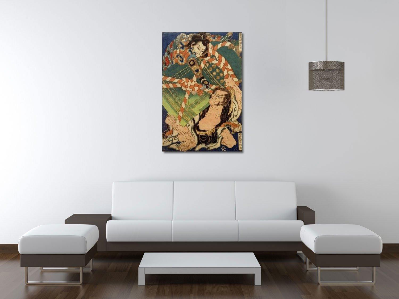 weewado Hokusai - Onikojima yataro y Seihoin akabozu - 40x60 ...