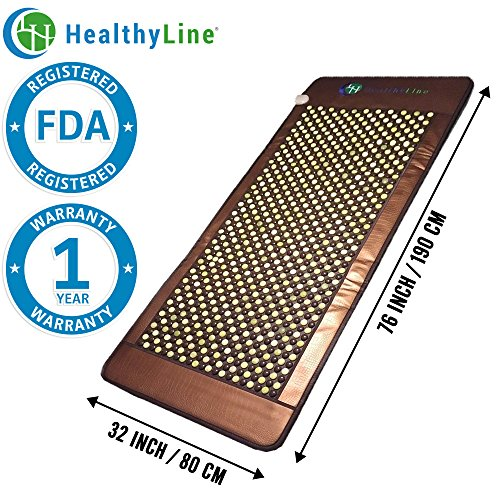 HL HEALTHYLINE - Far Infrared Heating Mat - 76inL x 32inW (Large and Firm) Jade and Tourmaline Hot Stones - Negative (Mini Jade Infrared Mat)