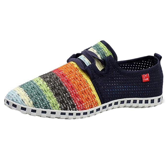 beautyjourney Zapatillas de Hilado de Colores Planos, Zapatillas de Deporte de Malla Transpirable para Mujer Zapatos de Playa Zapatos de Playa Zapatillas ...