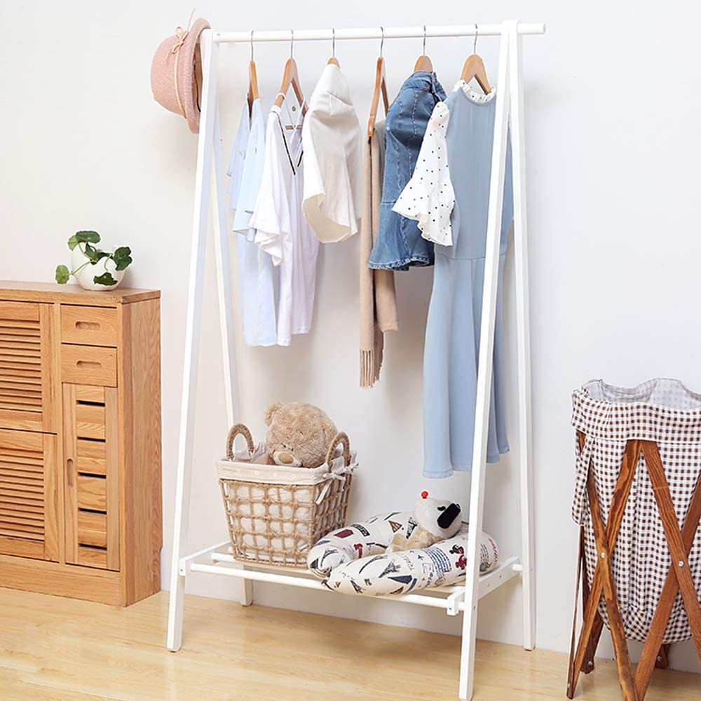 Exqui Wooden Wardrobe Storage Tidy Rails Clothes Rail White Hanging Rail With Shoe Storage Shelves Heavy Duty Garment Rack For Bedroom 75x44x150cm Amazon Co Uk Kitchen Home