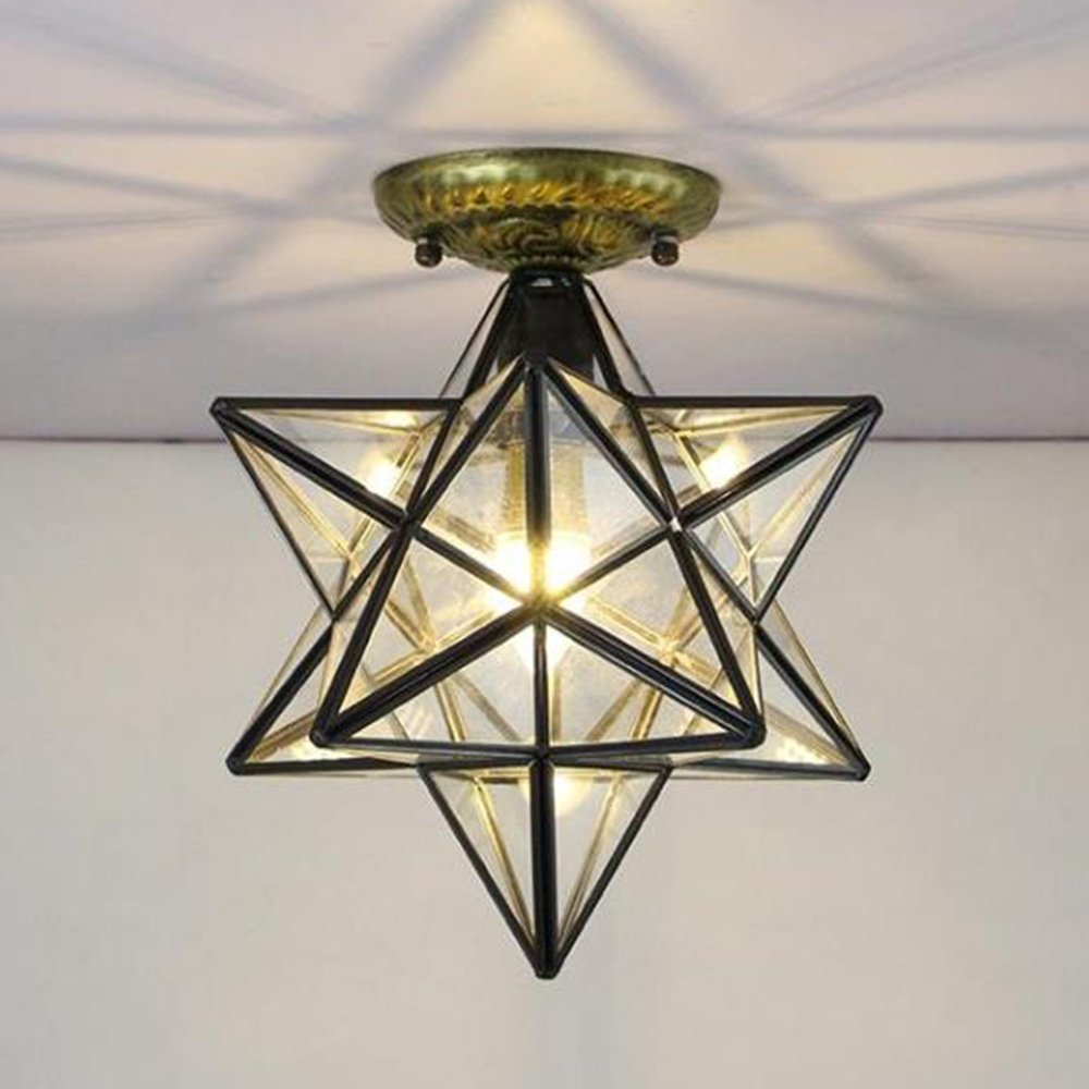Siminda Glass Moravian Star Ceiling Chandelier Lamp Flush Mount Iron Lighting Lamp Transparent Glass 11.8Inch