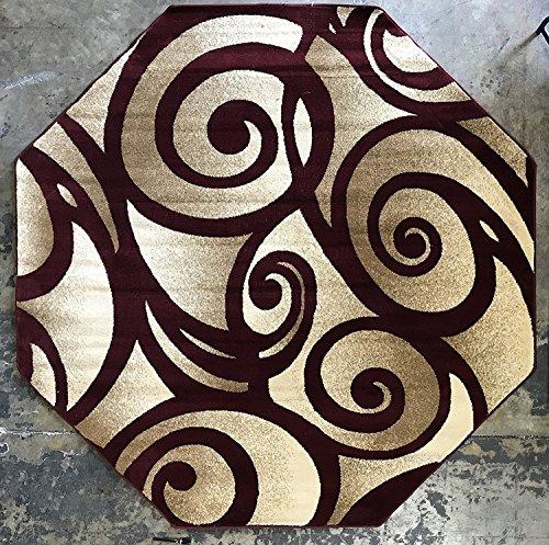 5'6 Octagon Area Rug (Modern Octagon Contemporary Area Rug 256,000 Point Burgundy Swirl Bellagio Design 341 (5 Feet 3 Inch X 5 Feet 3 Inch)