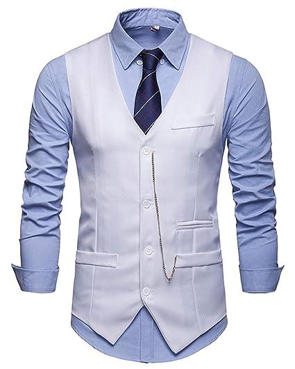 JOLIME Chaleco Hombre Vestir Vintage Banquete Ceremonia Traje Blazers Sin Mangas con Cadena