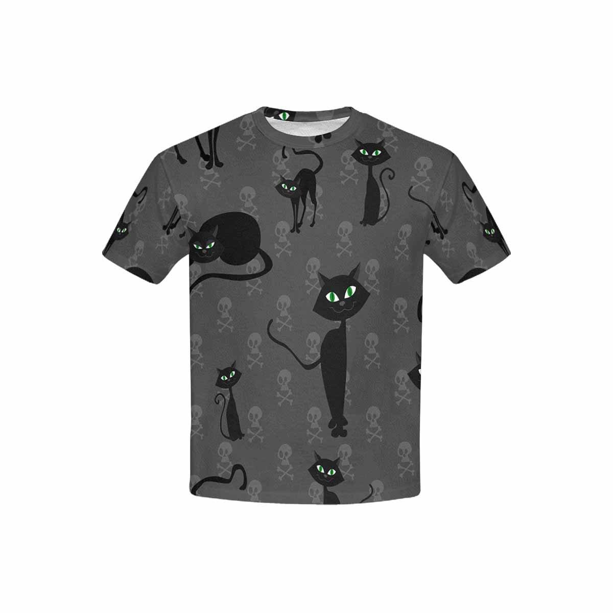 INTERESTPRINT Childs T-Shirt Black Halloween Cats and Skulls XS-XL