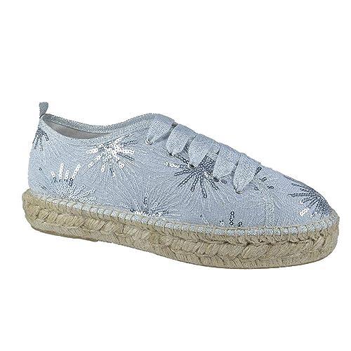 Zapatillas Yute Mujer, Plateadas con Lentejuelas, Hechas en España: Amazon.es: Zapatos y complementos