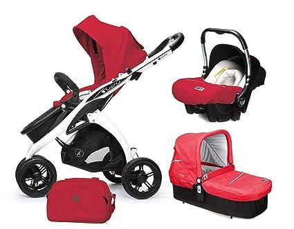 Casualplay Match 3 Kudu 3 - Pack de silla de paseo, capazo Cot, portabebés Baby 0+ y bolso, color rojo