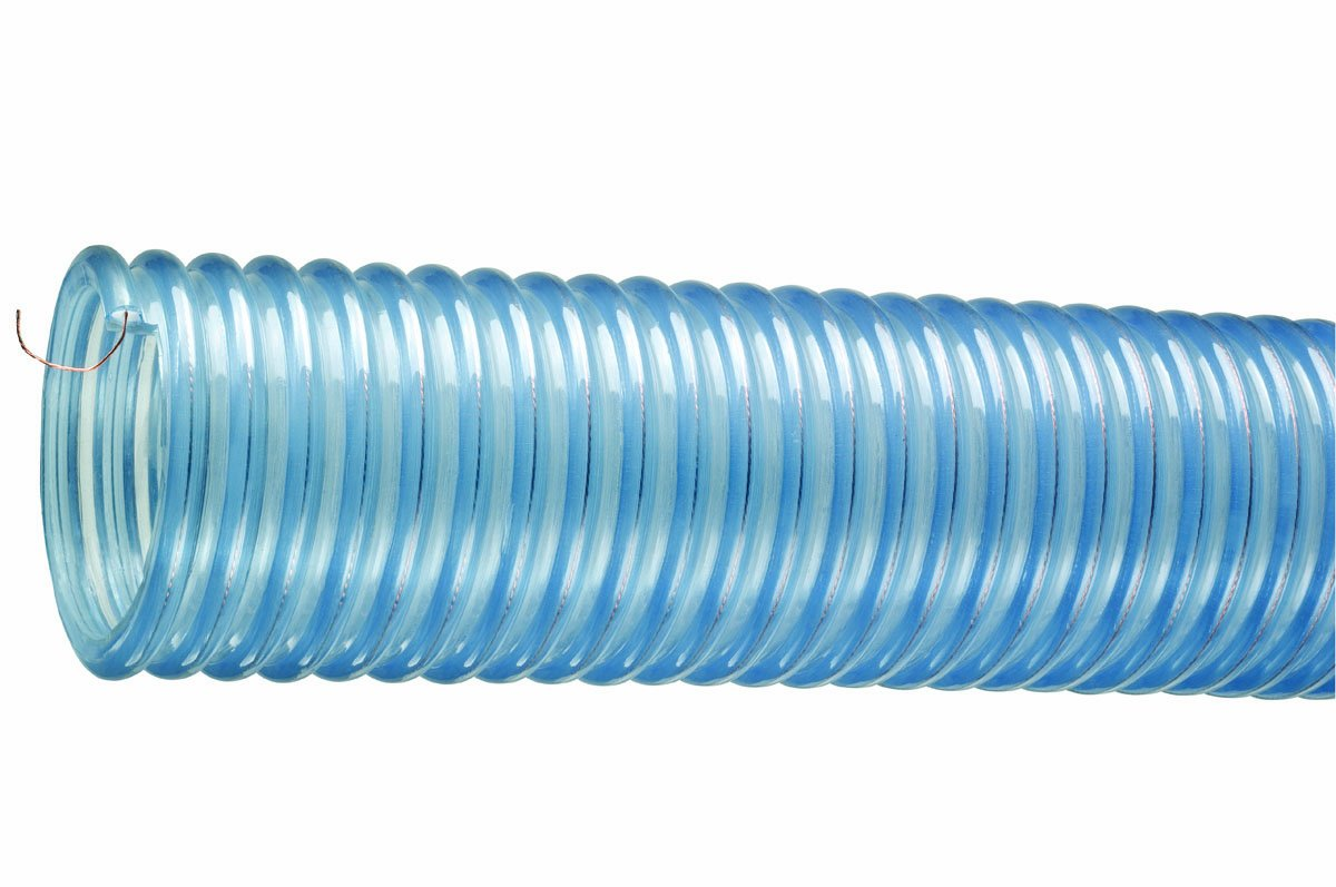 Tigerflex 2001 Series Heavy Duty Food Grade PVC Material Handling Hose with Grounding Wire, 40 PSI Max Pressure, 2 inches ID, 60 feet Length