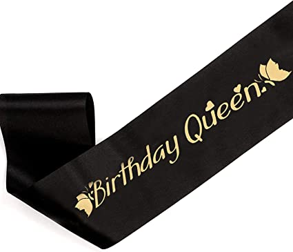 Gold Foil /'40 /& Fabulous/' Black Happy Birthday Party Satin Sash 40th Girl Outfit