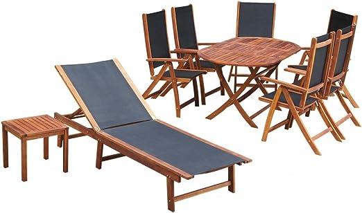 Tidyard Conjunto de Mesas y 6 Sillas de Jardín con Tumbona,Conjunto de Muebles de Jardín 9 Piezas para Jardín Terraza Patio,Madera de Acacia y Textilene: Amazon.es: Hogar