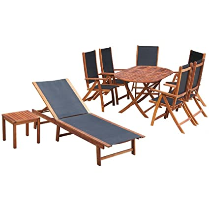 Chloe Rossetti Nine Piece Garden Furniture Set Acacia Wood With A Natural  Oil Finish + Textilene