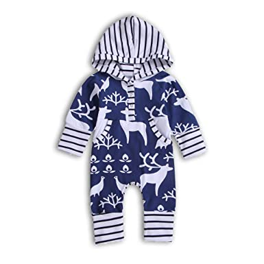 98db91a31 ZOELNIC Baby Girls Boys Christmas Clothes Toddler Striped Hooded Deer Print  Bodysuit (Blue, 0