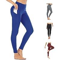 FREEZHOUSHANA Leggings Mujer con 2 Bolsillos, Pantalón Deportivo de Mujer Cintura Alta Elásticos Reducir Vientre para…