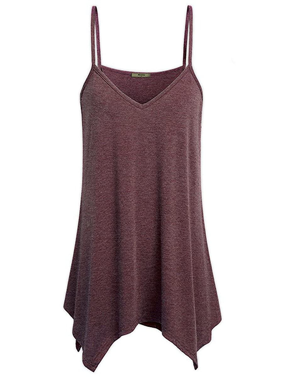 FOURSTEEDS Womens V-Neck Spaghetti Straps Solid Color Irregular Swing Tank Top HWATK0059