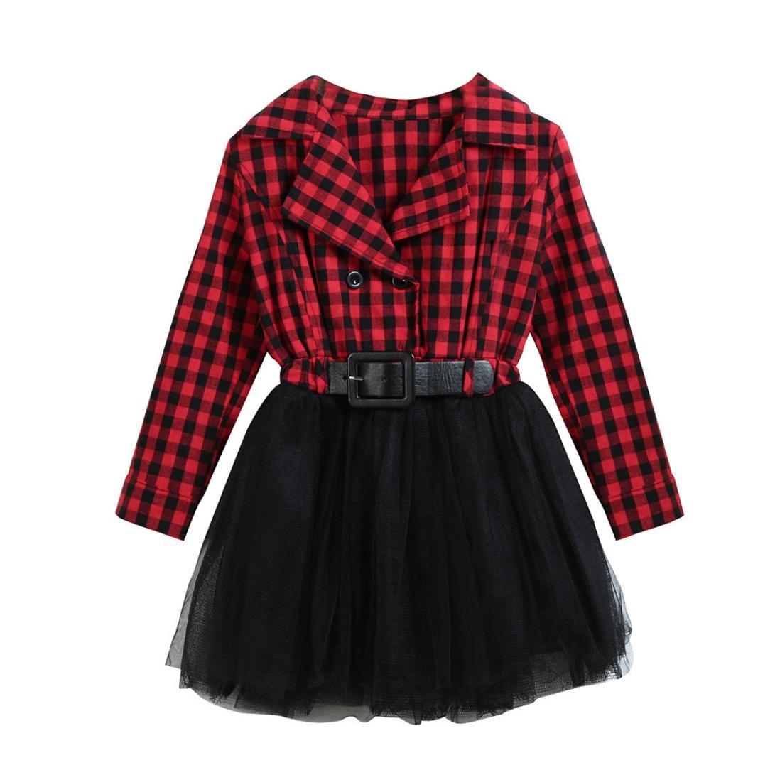 Kobay Kleinkind Kinder Baby Mädchen Kleidung Langarm Plaid Patchwork Party Prinzessin Kleid