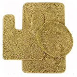 BATHROOM SET RUG CONTOUR MAT TOILET LID COVER PLAIN SOLID COLOR BATHMATS GOLD #6 3PC