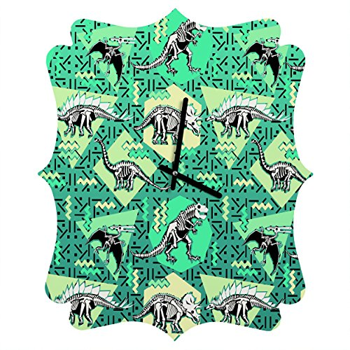 Deny Designs  Chobopop, Nineties Dinosaur Skeleton Pattern, Quatrefoil Clock, Medium by Deny Designs