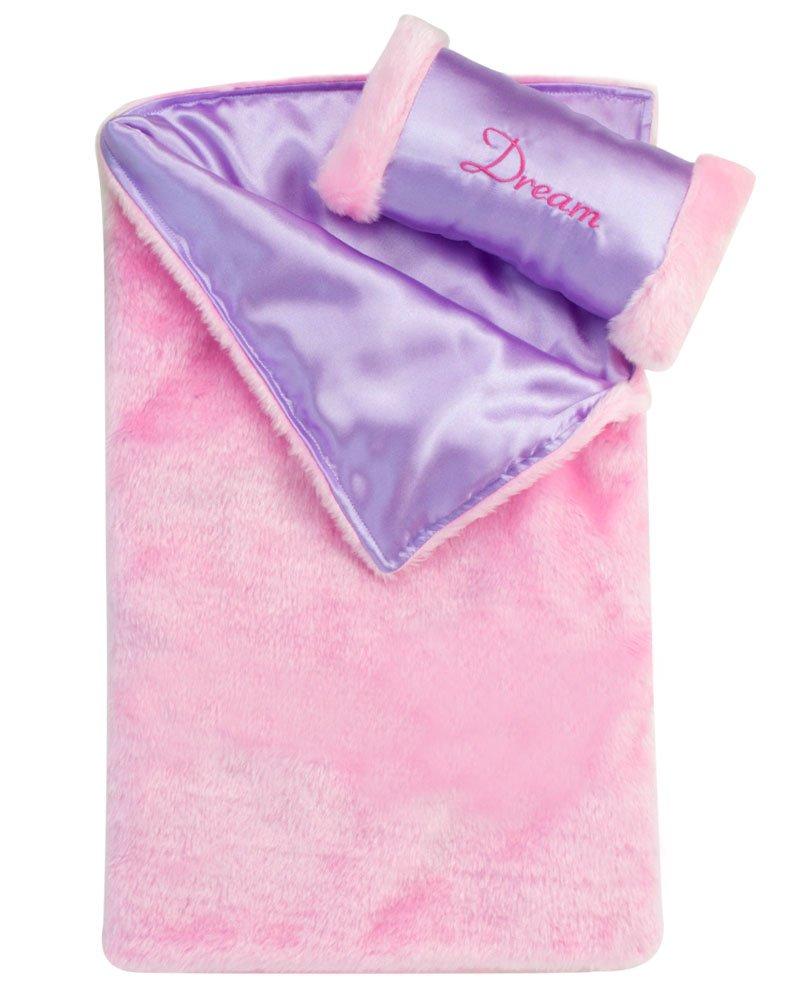 Sophia's Doll Bedding 2 Pc. Set Made Pink Satin Doll Bedding Set. Fits 18 Inch American Girl Dolls