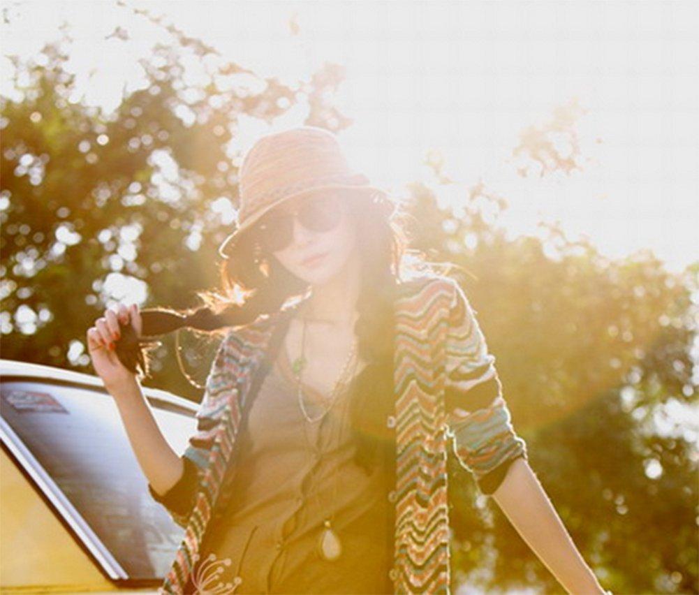 cappello da spiaggia da sole da donna in nappa colorata intrecciata per attivit/à allaria aperta Drawihi in stile bohemi/èn