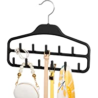 SMARTAKE Belt Hanger, 360 Degree Rotating Tie Rack with Hooks, Non-Slip Durable Hanging Closet Organizer Accessories Holder for Leather Belt, Bow Tie, Scarves and More, Black