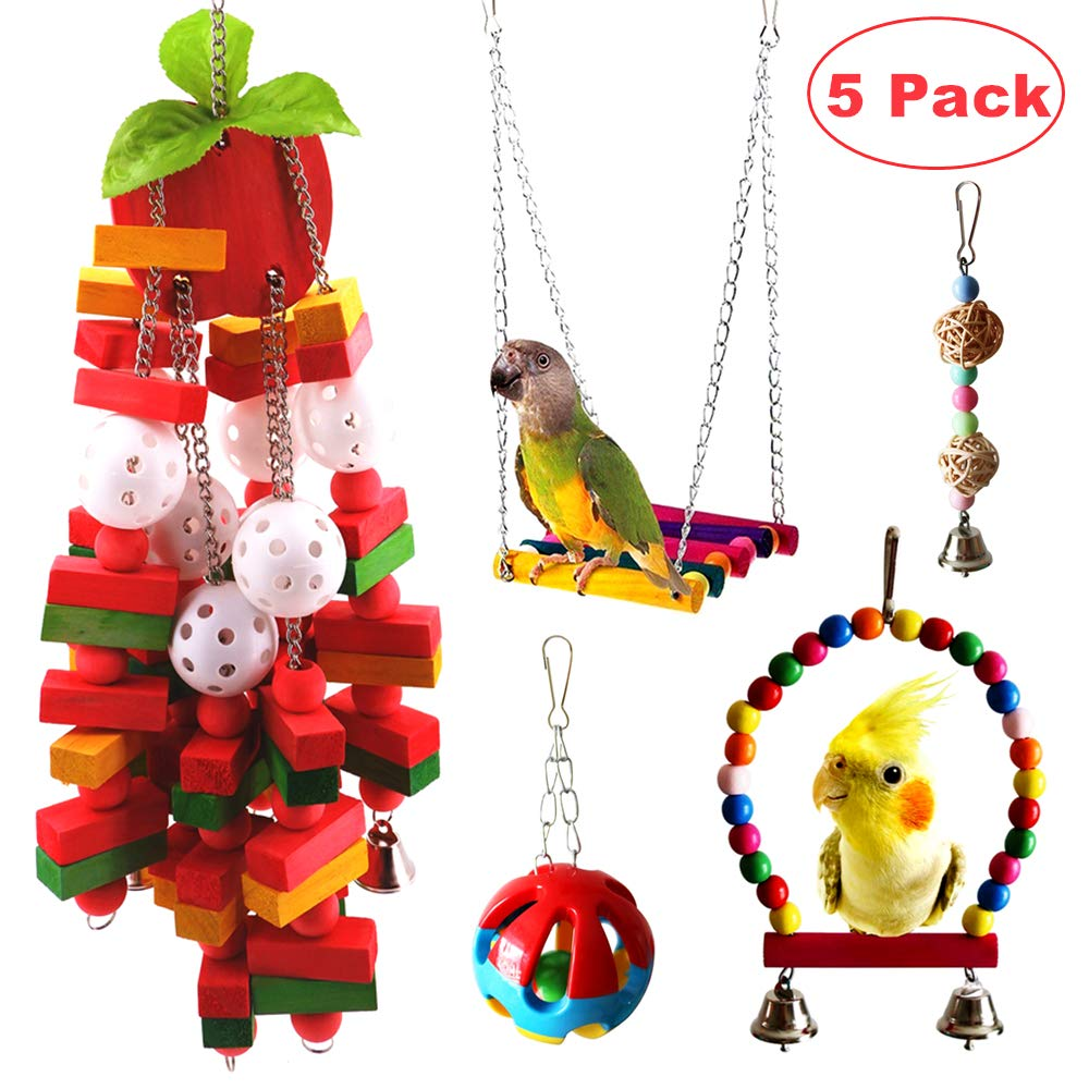 JanYoo Parrot Ftoys Bird Cage Accessories McCaw Swing Large Bird Perch Stand Hanging Parakeet Chew Toys(5 Pack) by JanYoo