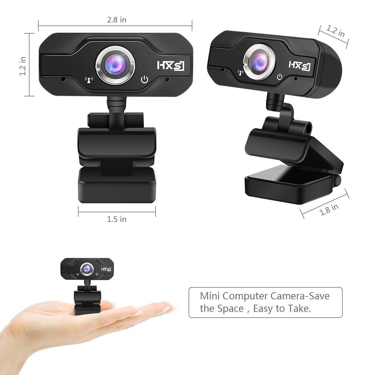 720P HD Webcam, EIVOTOR USB Mini Computer Camera with Built-in Microphone for Laptops and Desktop,Black by EIVOTOR (Image #4)