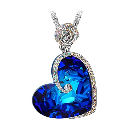 J.NINA Rose Heart Necklace with Bermuda Blue Crystals from Swarovski Aphrodite White-Gold Plated Valentines Jewelry Gifts for Her