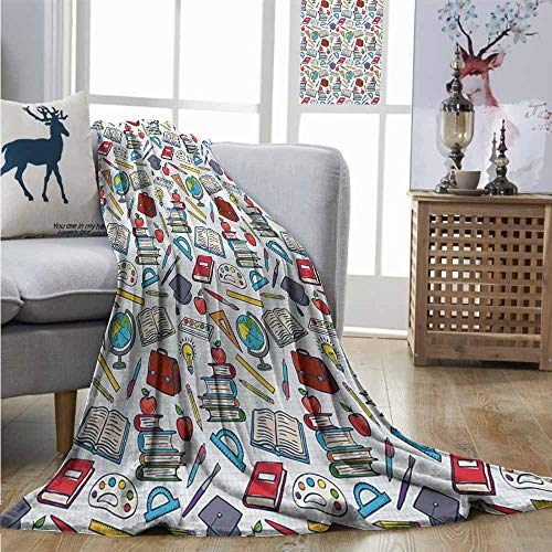 Homrkey Super Soft Lightweight Blanket Kids Elementary School Theme Student Supplies Globe Paints and Brushes Books Education Blanket as Bedspread W54 xL84 Multicolor
