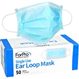 ForPro Single Use Ear Loop Mask, 3-Ply Disposable Non-Woven Face Mask, Latex-Free, Hypoallergenic, Fiberglass-Free, Protects Against Pollen, Dust, 50-Count