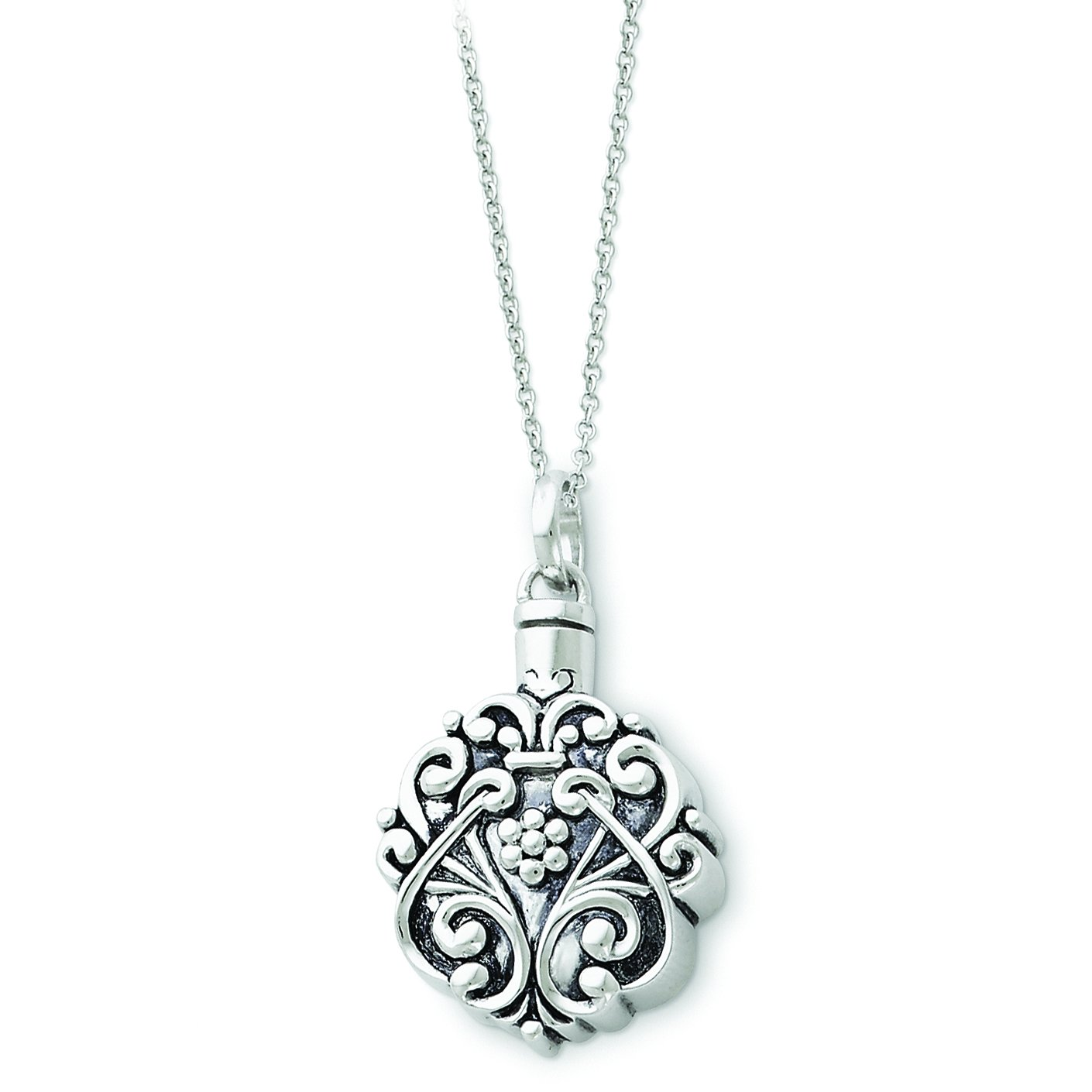 Sterling Silver Antiqued Circle Remembrance Ash Holder 18in Pendant Necklace